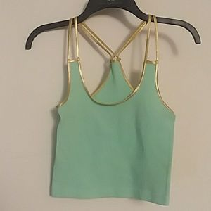 Tops - Gold trimmed turquoise tank top